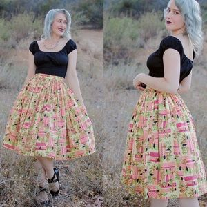 Pinup Couture Jenny skirt in Tiki print small